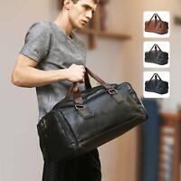Leather Duffle Weekend Men Bag Gym Travel Bag Luggage Leather Handbag