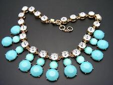 """$68 Banana Republic Turquoise Blue Cabochon & Rhinestone Necklace Goldtone 20"""""""