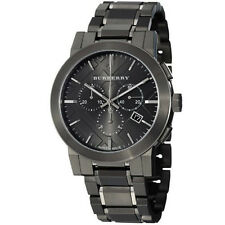 100% New Burberry Men's BU9354 Large Check Gray Ion Plated Stainless Steel Watch