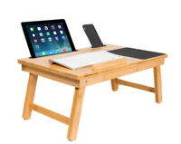 Multi Tasking Laptop Bed Tray Work Desk Bamboo Lap Laptop Tablet Phone Storage