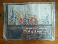 New listing Spring Flowers Vintage Crewel Embroidery Kit by Georgia Ball Paragon Floral New
