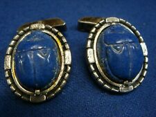 Blue Stone Scarab Beetle Cufflinks New listing Ed Harris Sterling Silver And