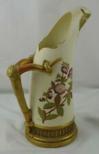 Antique Royal Worcester Blush Porcelain #1116 Stag Horn Handle Pitcher Art Nouve