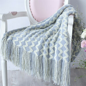 Nordic Throw Thread Blanket For Beds Sofa Knitted Tassel Travel TV Nap Blankets