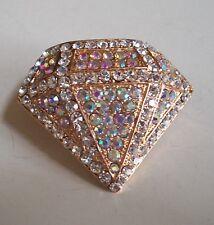 Gold Finish Stretch Fashion Ring Men or Women Diamond Shape Bling