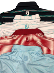 Footjoy FJ Lot of 4 Golf Polo Shirts Size Small Multi Color Stripes Houndstooth