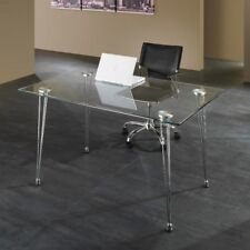 Scrivania per ufficio KALEVA design moderno in metallo e vetro 130 x 80 cm