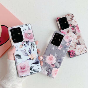 For Samsung Galaxy S21 S20 Plus Case Flower Marble Silicone Gel Cover S10 S9