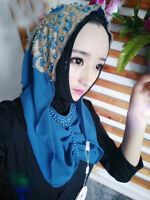 Muslim Women Chiffon Hijab Wrap Shawls Arab Hats Scarf Islamic Headcover Cap