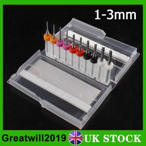 "10pcs 1/8"" 1-3mm PCB Engraving Cutter Rotary CNC End Mill Drill Bits Tool UK"
