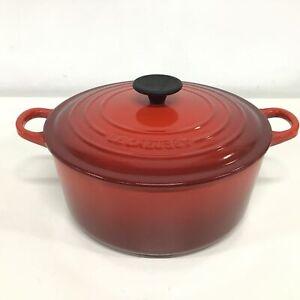 Le Creuset Red Ombre Round 24cm Cast Iron Casserole Pot #927