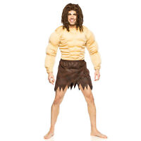 Mens Jungle Man Tarzan Padded Muscle Chest Wig Loincloth Adult Halloween Costume