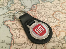 FIAT Quality Black Real Leather Keyring 1