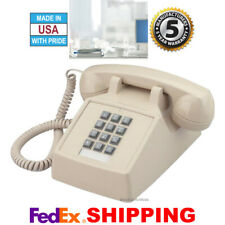 RETRO ASH PUSH BUTTON DESK TELEPHONE VINTAGE STYLE CORDED PHONE NEW