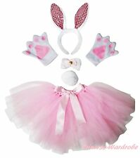 Easter Adult Light Pink Bling Bunny Rabbit Headband Paw Tail Bow Skirt Costume