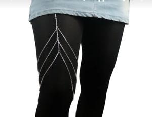 USA SHIP - Sexy Women Thigh Leg  3 row Chain Jewelry Body Bikini Beach Harness