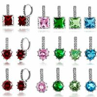 Fashion CZ Zircon Cubic Crystal Heart Crown Earrings Hoop Women Wedding Jewelry