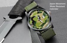 Men's Military Camo Green Quartz Analog Round Calendar Watch Nylon Strap