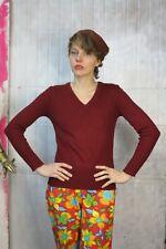 Damen Pullover Pulli V-Ausschnitt rotbraun Strick 70er TRUEVINTAGE 70s jumper