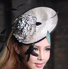 EXQUISITE HANDMADE BLACK & WHITE SINAMAY FASCINATOR WITH LARGE FEATHER FLOWER