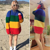 Womens Vintage Jumper Crew Neck Long Sleeve Pullover Stripe Knit Sweater Rainbow