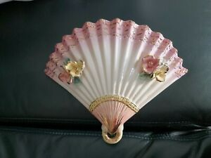 Vintage Pretty Fan Wall Pocket Vase C. 50s Italy