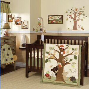 lamb and ivy Crib Set + Mobile + Diaper Holder + Swaddling Blanket + Extra Sheet