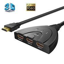 3 porte HDMI Switcher 1080p HDMI SWITCH SELETTORE Placcato Oro HD HUB SWITCH.