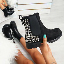 WOMENS LADIES CHELSEA ANKLE BOOTS SPIKE DIAMANTE STUDDED LOW HEEL SHOES SIZE