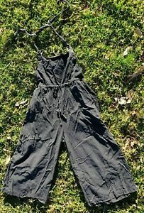Tree Of Life Cotton Black 3/4 wide leg slouch boho relaxed fit Overalls S M