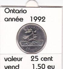 C1 )pieces de 25 cent Ontario (1992 )