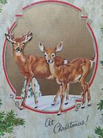 1940-50s DEER & FAWN Die Cut REINDEER Vtg CHRISTMAS GREETING CARD