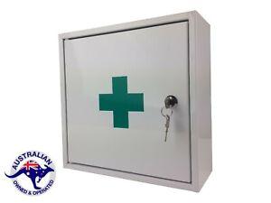 FIRST AID MEDICAL CABINET KIT MEDICINE BOX STEEL LOCK KEY SOLID POWDER COATED
