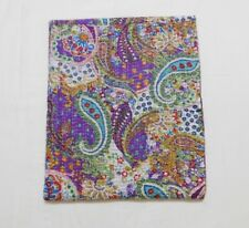 Indian Handmade Paisley Kantha Quilt Block Print Bedspread Purple Twin Size