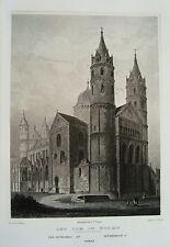 Worms am Rhein Dom echter alter Stahlstich 1844