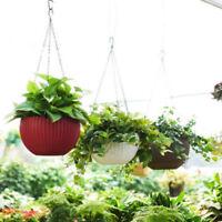 UK Garden Hanging Flower Plant Planter Basket For Plant Pot Holder+Chain Plastic