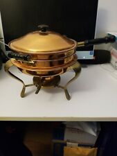 Vintage Copper and Brass Chafing Dish with Stand And Burner