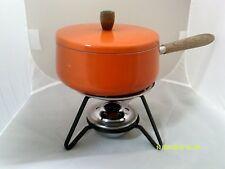 Vintage Orange FONDUE POT w/Lid- Wood Handle - Caddy & Burner-5 Pieces