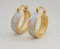 18K Gold Filled Elegant Italian Two Tone Hoops 18ct GF Earrings 20mm