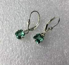 Sterling Silver Asscher Cut Natural Green Amethyst Lever Back Earrings 1.80TCW