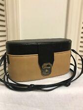 Unique Vintage Handbag Made in Italy Tan & Black Leather