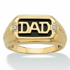 Father's Day Special Men's DAD Ring In 14K Yellow Gold Over Round Cut Diamond