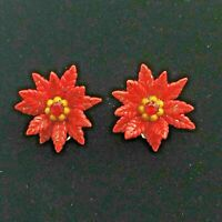 Vintage Plastic Poinsettia Earrings Small Red Christmas Flower Holiday Ear Clips