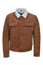 TRUCKER Men's Tan SUEDE 1280 Classic Real Cowhide Leather Fur Collar Jacket