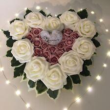 Grabgesteck Herz Engel Trauer Rose künstlich Grabschmuck Totensonntag 40 cm weiß