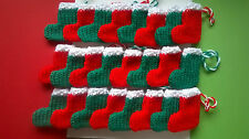 Clearance Christmas Stockings  24 x red and green Hand Knitted FREE uk P&P
