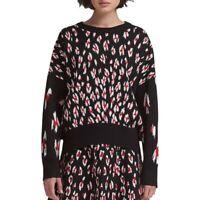 DKNY NEW Women's Leopard-print Crewneck Sweater Top TEDO