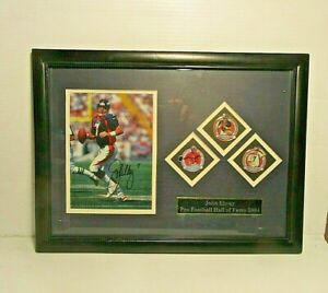 Signed John Elway Hall of Fame Induction Plaque 2004