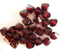 25 pc SWAROVSKI CRYSTAL Garnet 6mm Loose Beads Bicone 5328 Dark Red, Free Ship