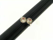 Vintage Serling Silver 2 Clear Prong Set Rhinestone Cross Over Style Ring 8 +